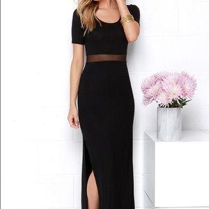 Lulu's Black Maxi Dress with Mesh Insert NWT Sz L